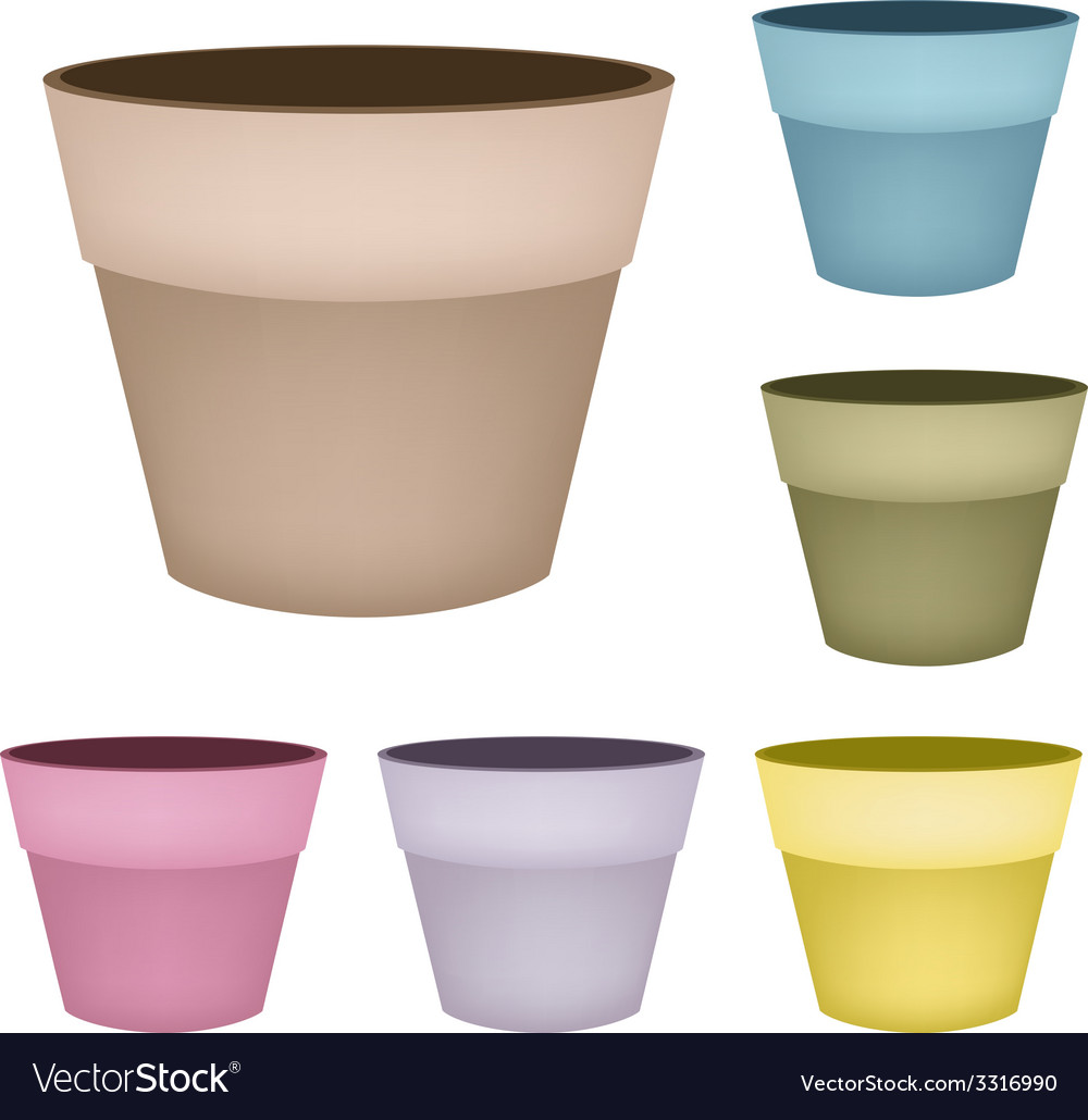 Set of flower pots on white background vector | Price: 1 Credit (USD $1)