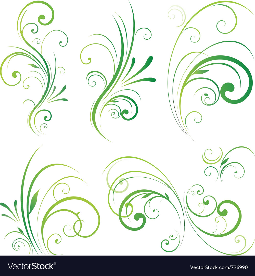 Spring floral decorative swirls vector | Price: 1 Credit (USD $1)