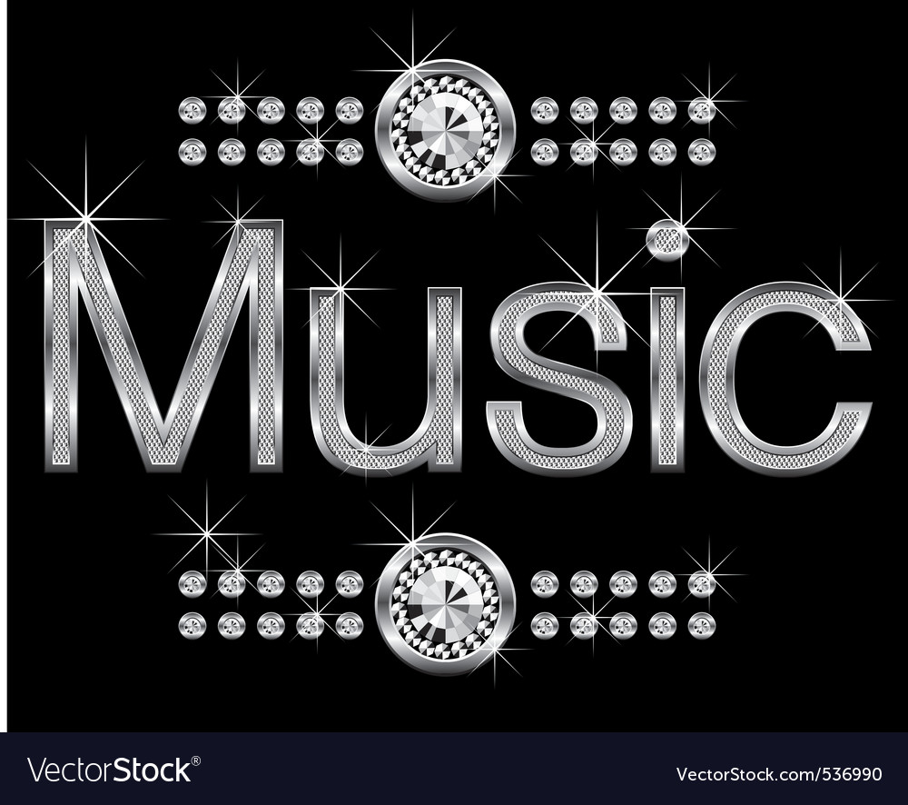 thin metal diamond word music big and small vector | Price: 1 Credit (USD $1)