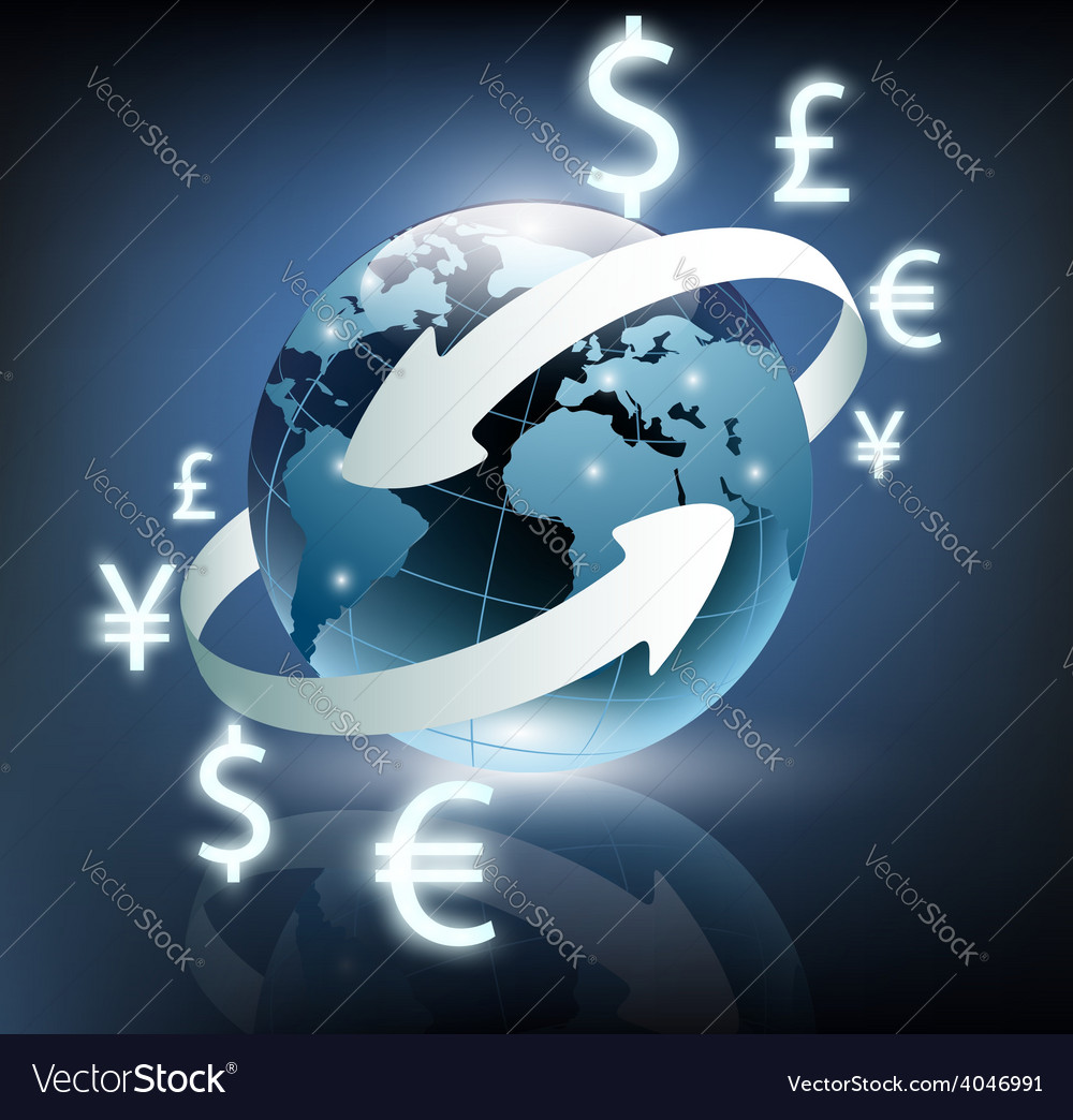 Arrows around planet earth and world currency vector   Price: 1 Credit (USD $1)