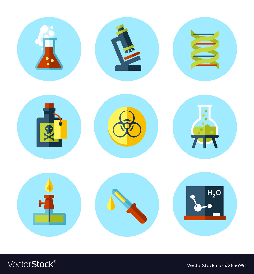 Chemistry icon set in modern flat style vector | Price: 1 Credit (USD $1)