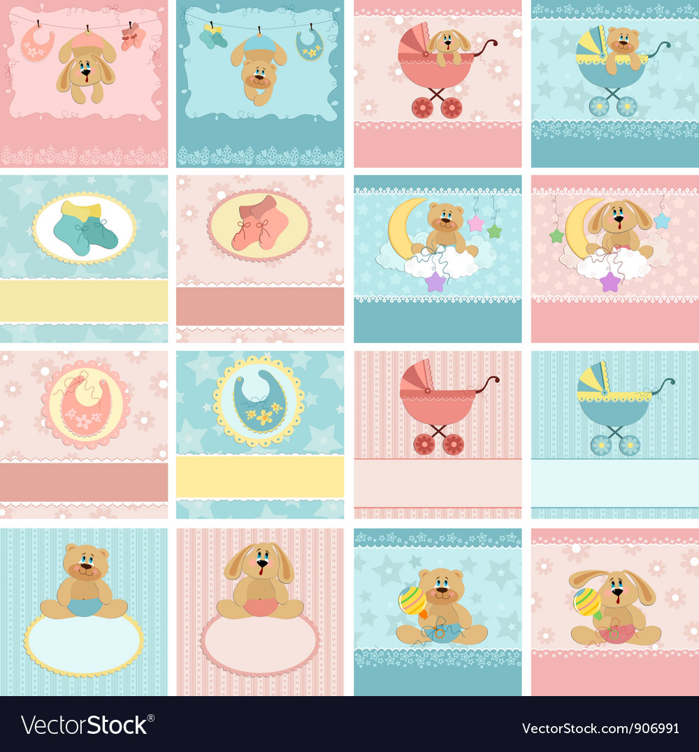 Collection of babys postcards vector | Price: 1 Credit (USD $1)