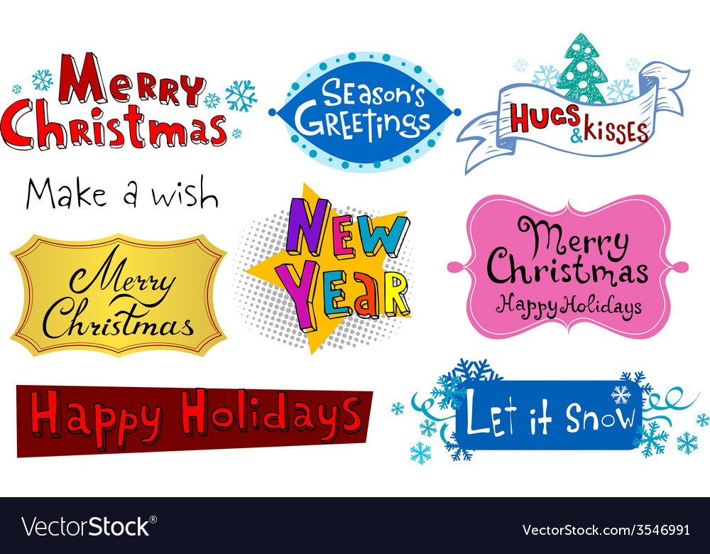 Festive christmas inscriptions vector | Price: 1 Credit (USD $1)