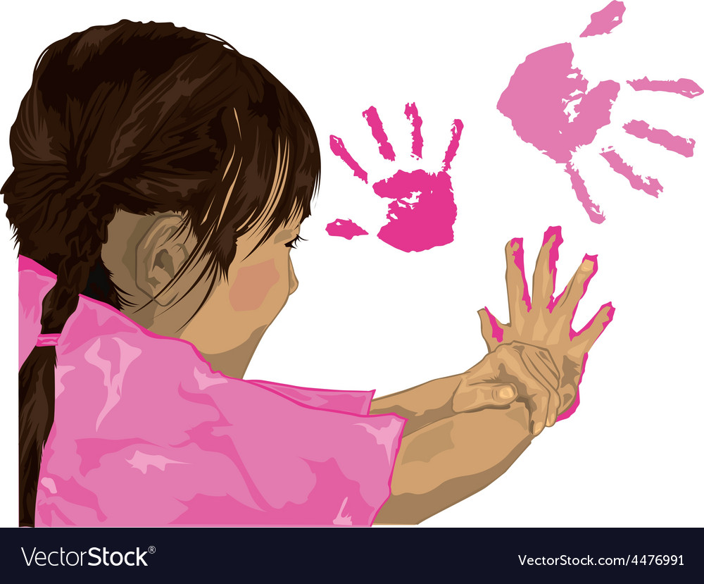 Girl finger painting cartoon vector | Price: 1 Credit (USD $1)