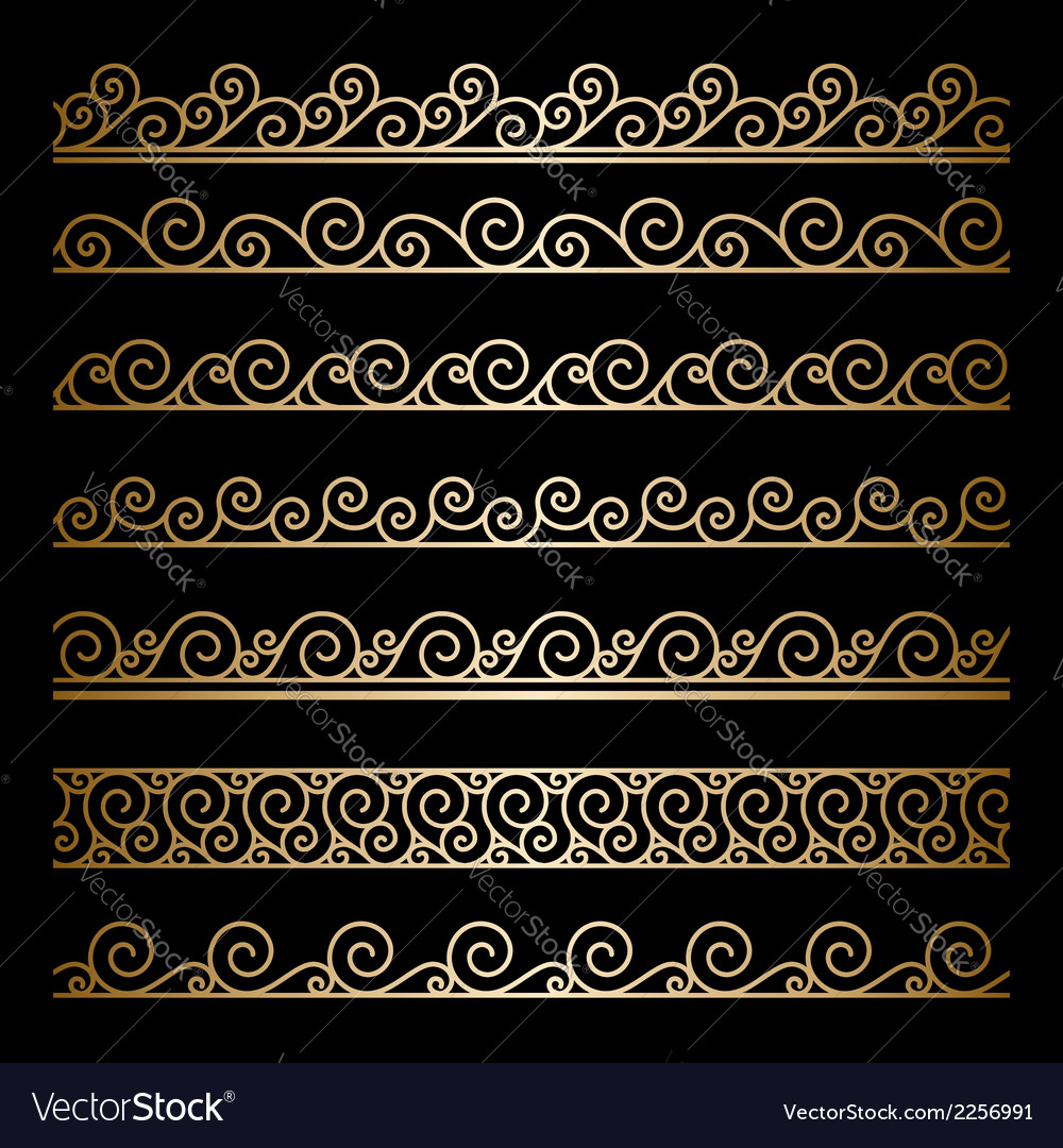 Gold wavy borders vector | Price: 1 Credit (USD $1)