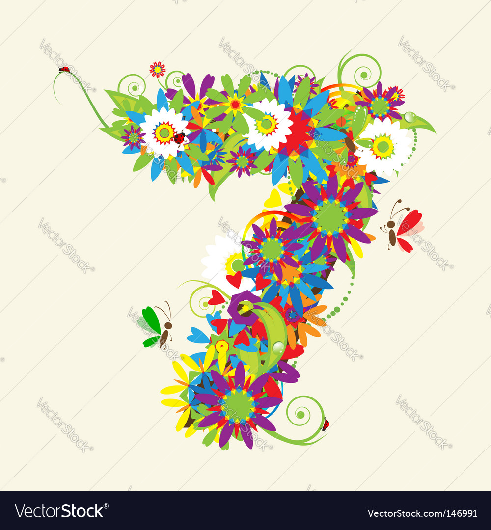 Number 7 floral design vector | Price: 1 Credit (USD $1)