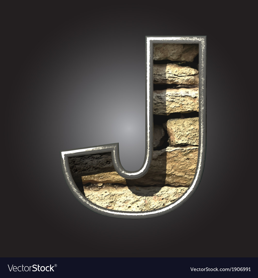 Old stone letter j vector | Price: 1 Credit (USD $1)