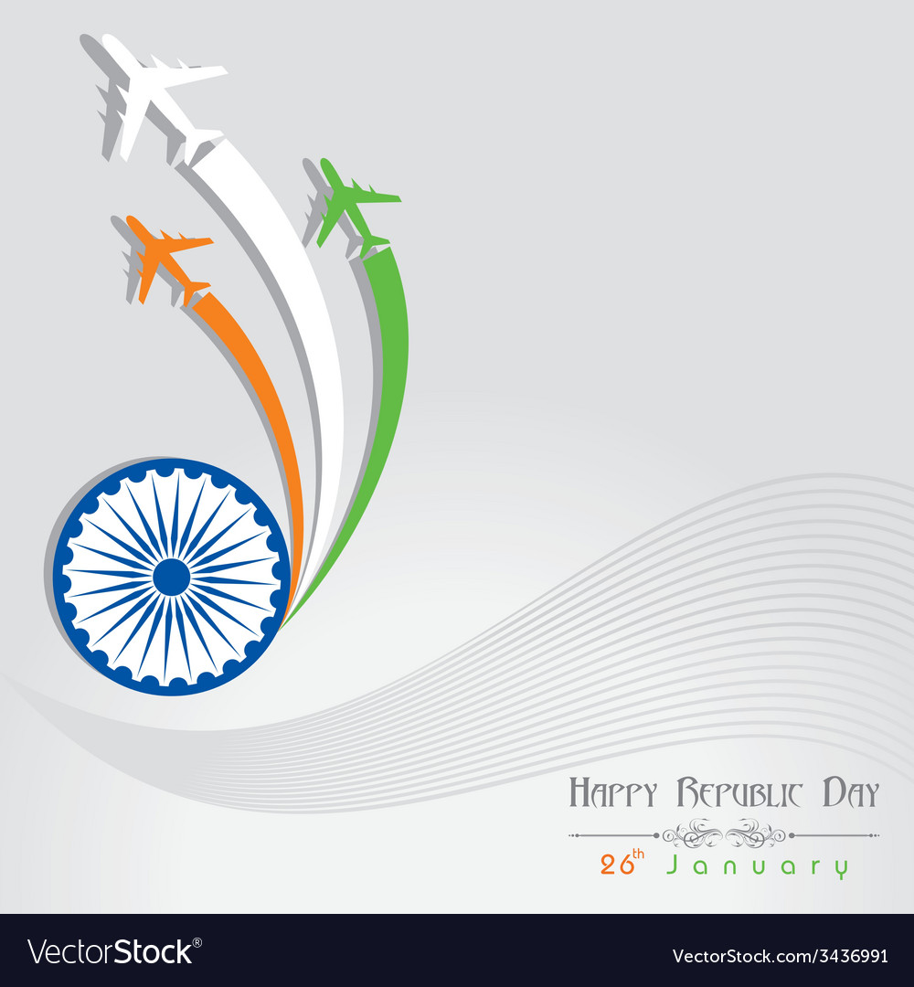 Republic day greeting with airplane vector | Price: 1 Credit (USD $1)