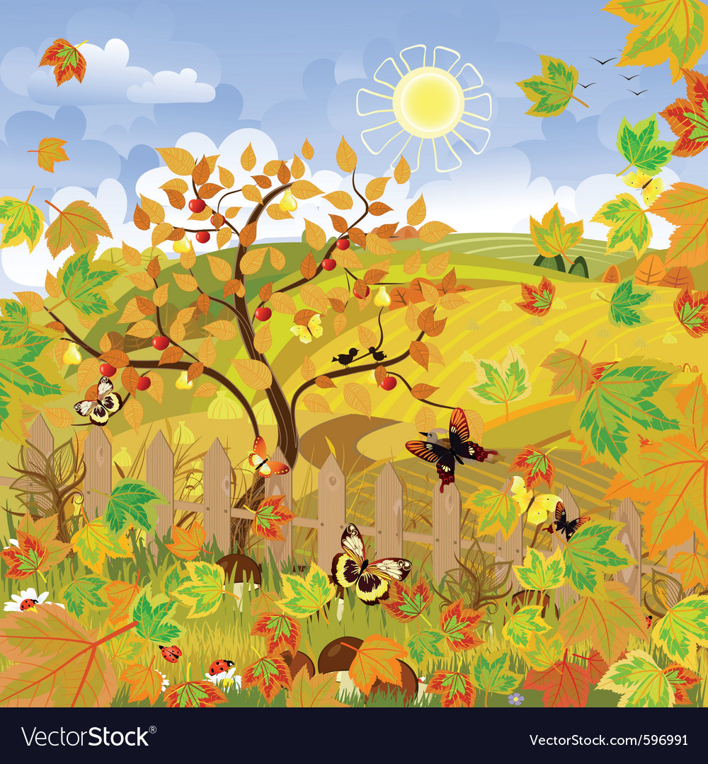 Rural landscape autumn vector | Price: 3 Credit (USD $3)