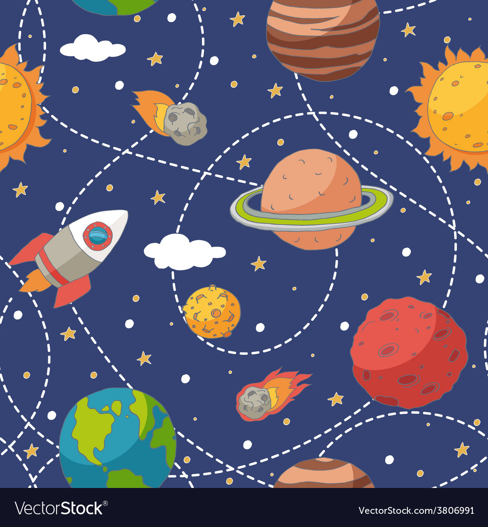 Seamless pattern with planets and the sun vector | Price: 1 Credit (USD $1)