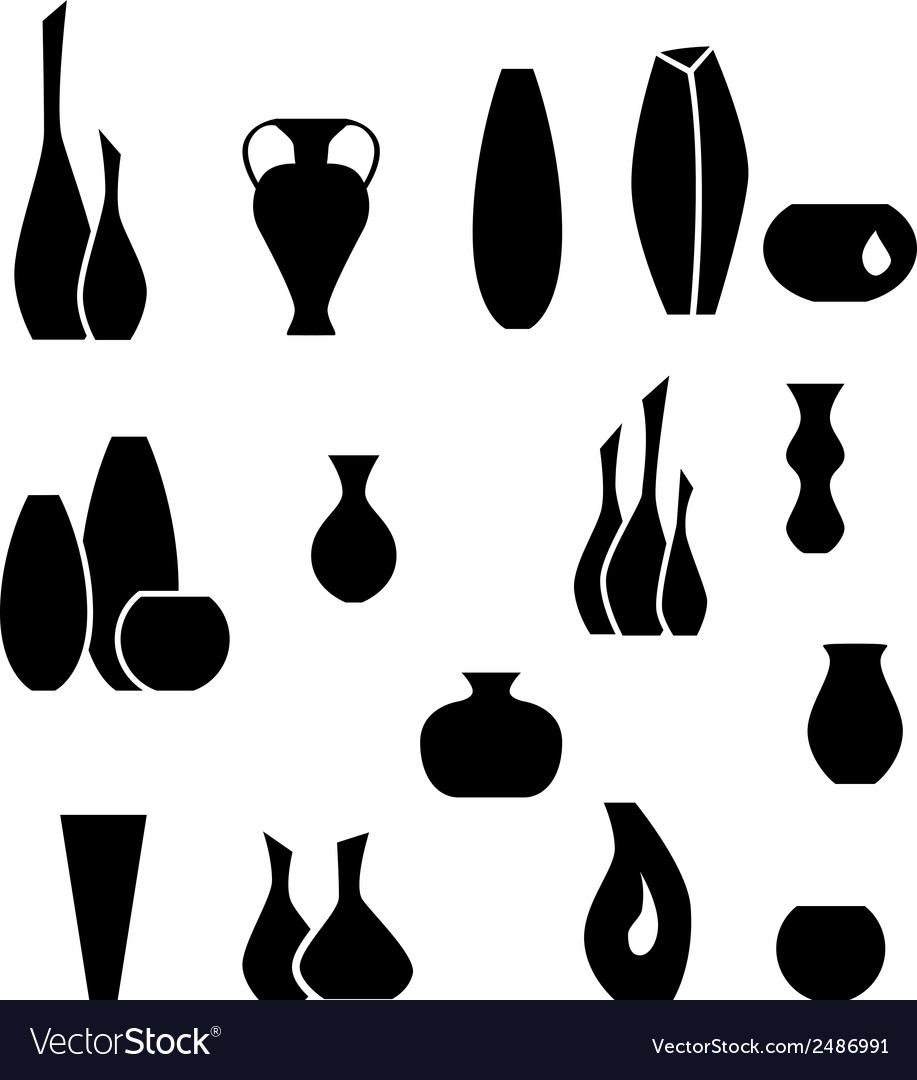 Set silhouettes of vases black interior element vector | Price: 1 Credit (USD $1)
