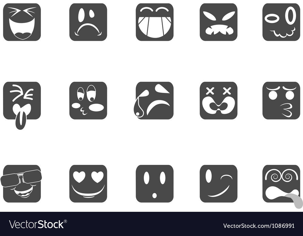 Square smiley face icons vector | Price: 1 Credit (USD $1)