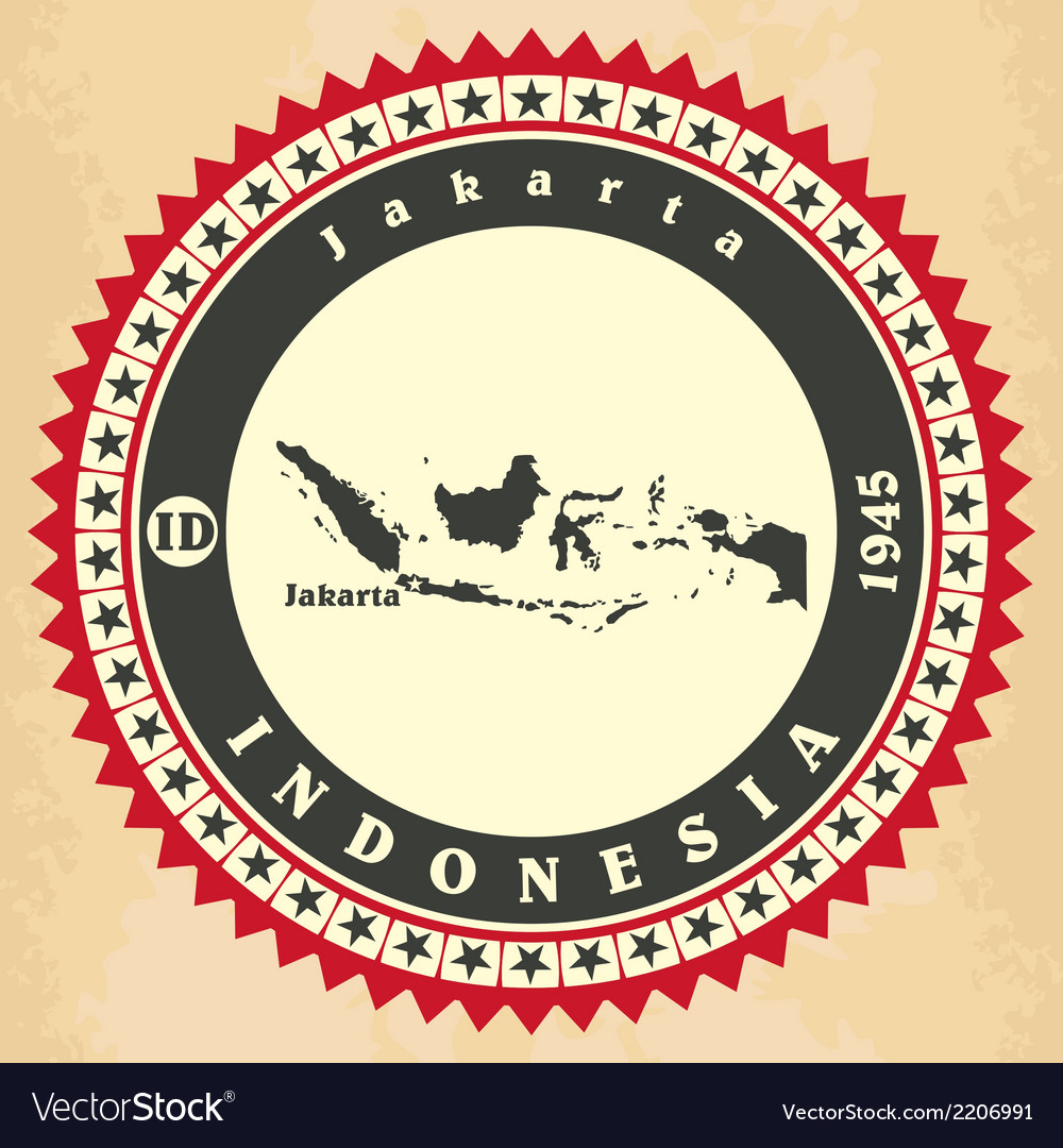 Vintage label-sticker cards of indonesia vector | Price: 1 Credit (USD $1)