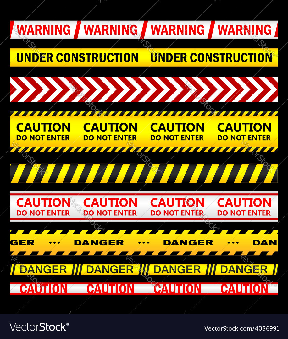 Warning security and caution ribbons and tapes vector | Price: 1 Credit (USD $1)