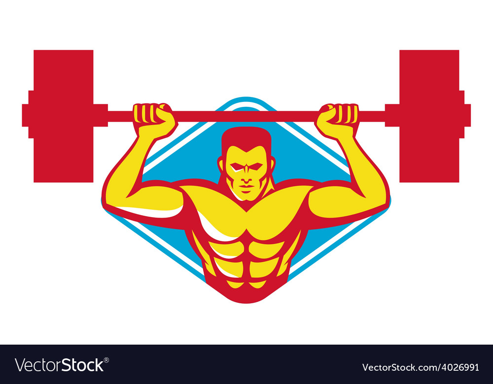 Weightlifter body builder lifting weights retro vector | Price: 1 Credit (USD $1)