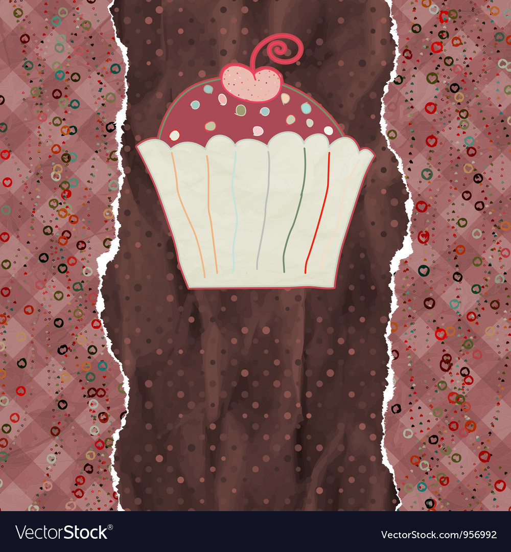 Birthday card with cupcake eps 8 vector | Price: 1 Credit (USD $1)