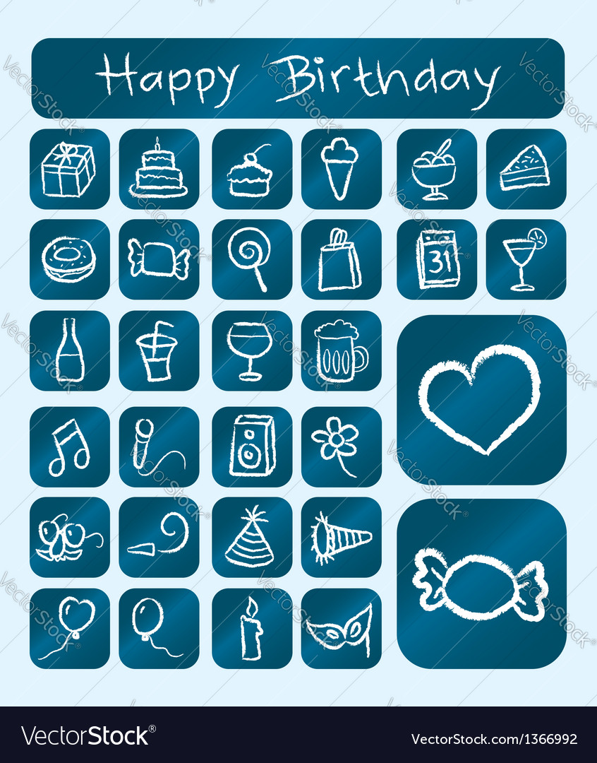 Birthday icons chalk drawing style vector | Price: 1 Credit (USD $1)