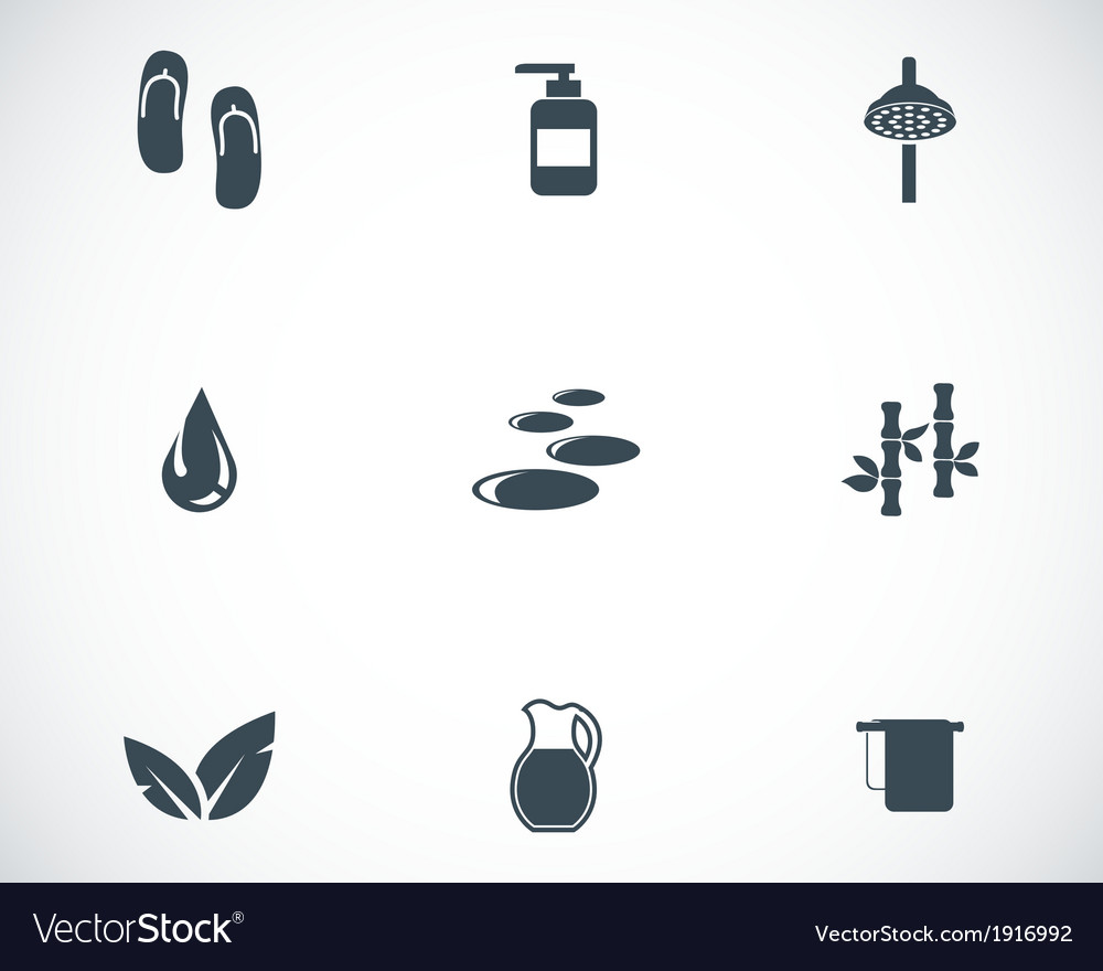 Black spa icons set vector | Price: 1 Credit (USD $1)