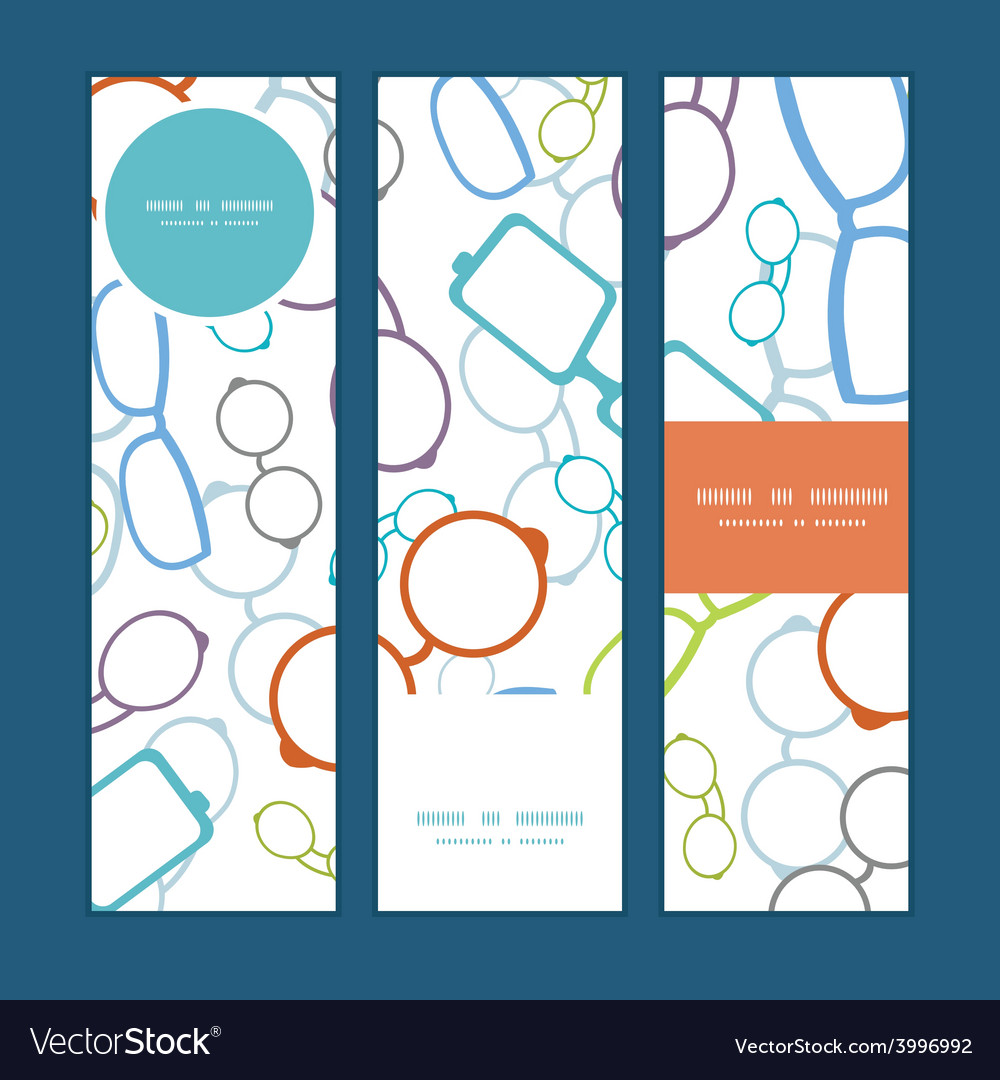 Colorful glasses vertical banners set vector | Price: 1 Credit (USD $1)