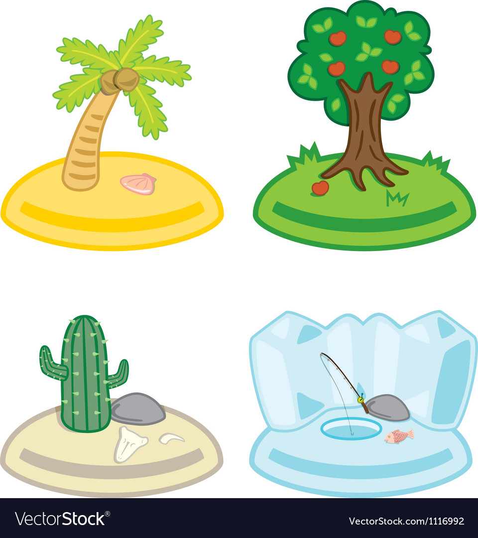 Cute cartoon islands vector | Price: 1 Credit (USD $1)