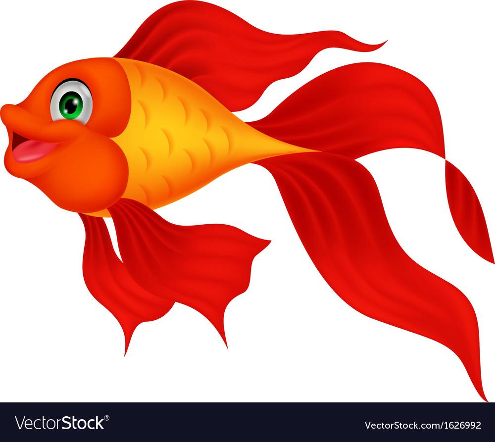 Cute golden fish cartoon vector | Price: 1 Credit (USD $1)