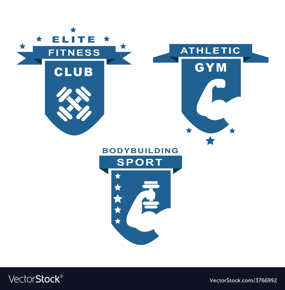 Gym fitness athletic and sport labels vector | Price: 1 Credit (USD $1)