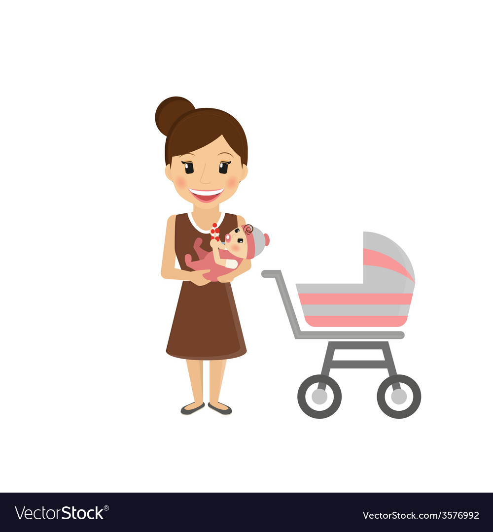 Mom with little baby vector | Price: 1 Credit (USD $1)