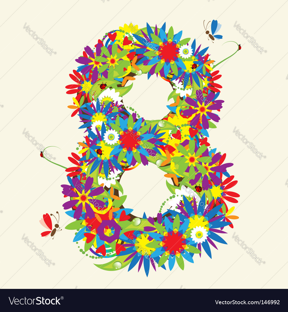 Number 8 floral design vector | Price: 1 Credit (USD $1)