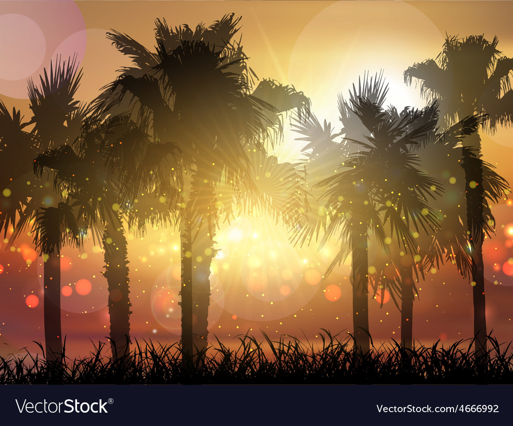 Palm trees at sunset 0705 vector | Price: 3 Credit (USD $3)