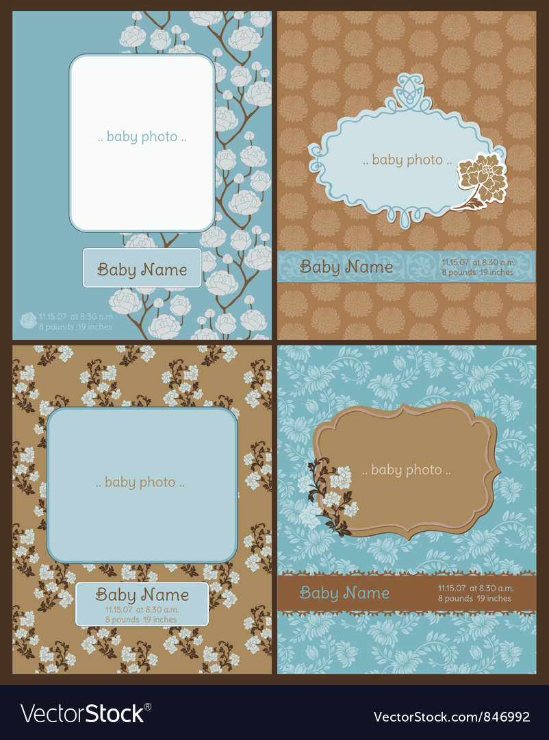 Set of baby arrival cards vector | Price: 1 Credit (USD $1)