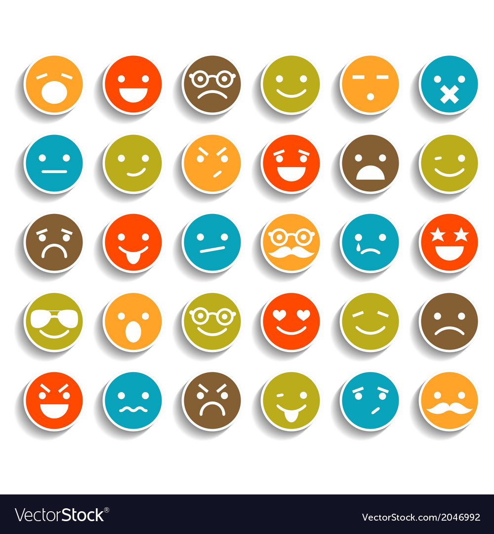 Set of color smiley icons vector | Price: 1 Credit (USD $1)