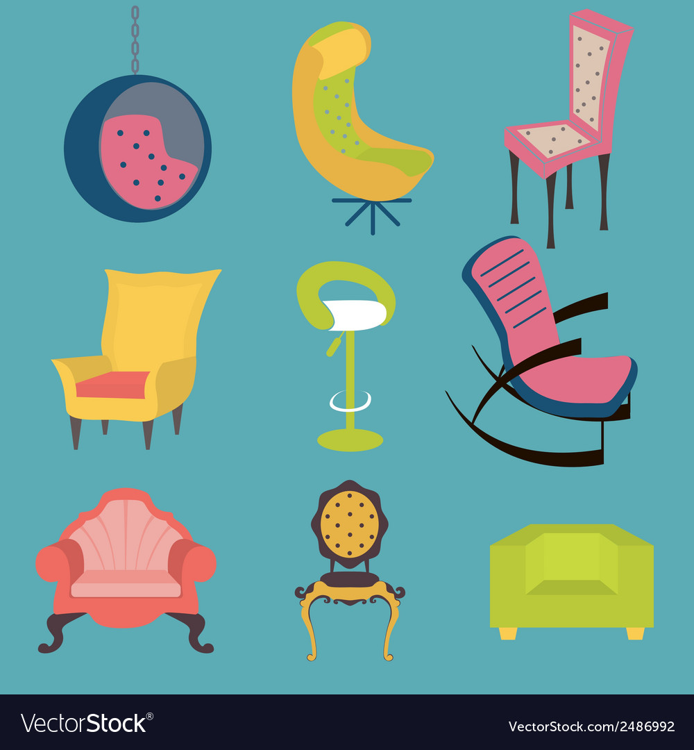 Set of colorful chairs interior detail vector | Price: 1 Credit (USD $1)