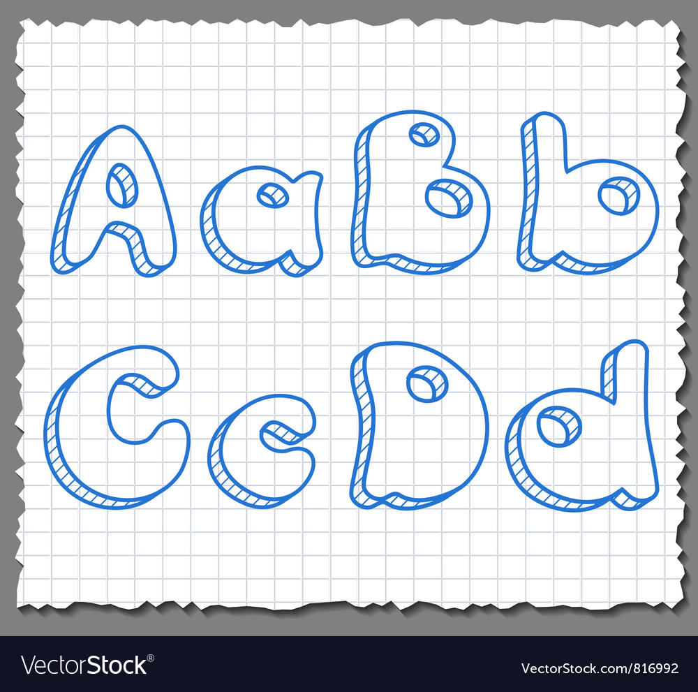 Sketch 3d alphabet letters - abcd vector | Price: 1 Credit (USD $1)