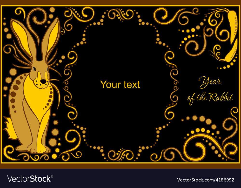 Template with sign chinese horoscope rabbit vector | Price: 1 Credit (USD $1)