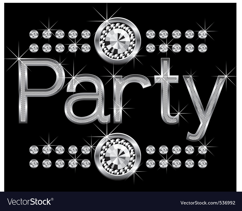 thin metal diamond word party big and small vector | Price: 1 Credit (USD $1)