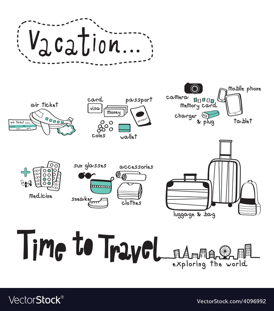 Time to travel doodle white background vector | Price: 1 Credit (USD $1)