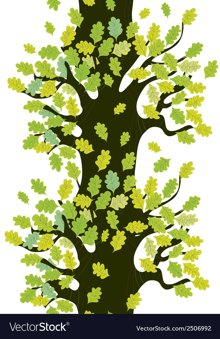 Tree seamless border with oak leaves vector | Price: 1 Credit (USD $1)