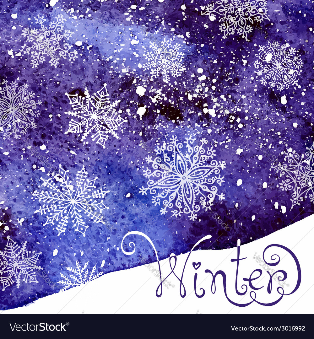 Winter background with snowflakes painting vector | Price: 1 Credit (USD $1)