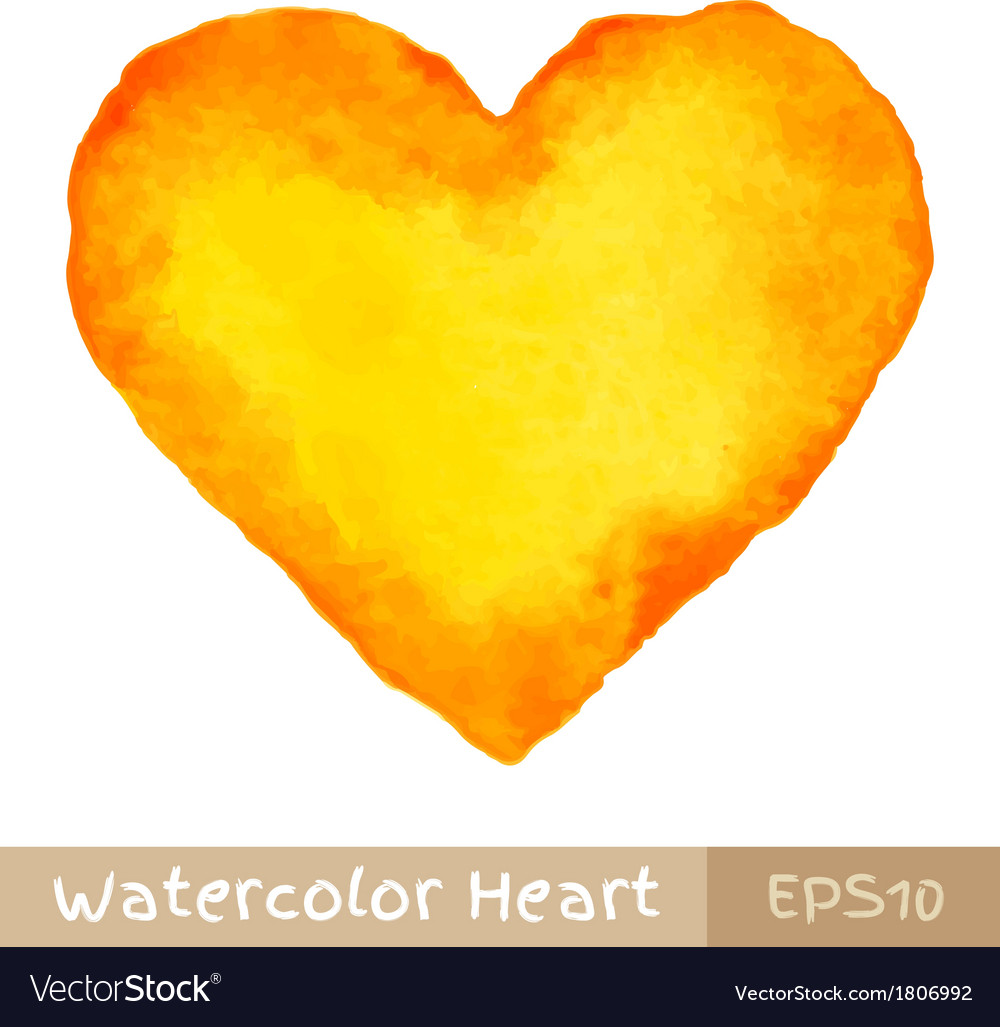 Yellow watercolor heart vector | Price: 1 Credit (USD $1)