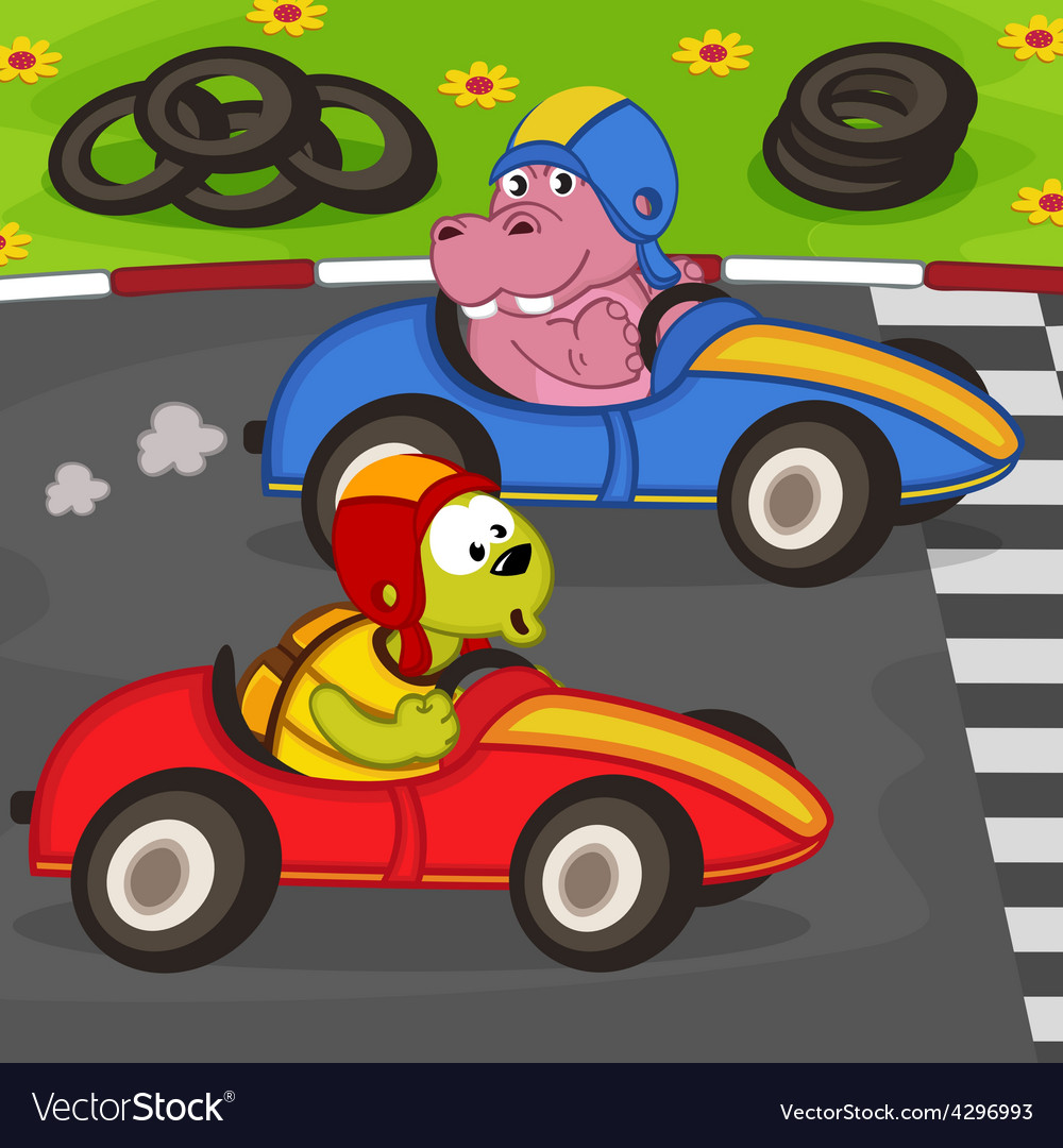 Animals in car racing vector | Price: 1 Credit (USD $1)