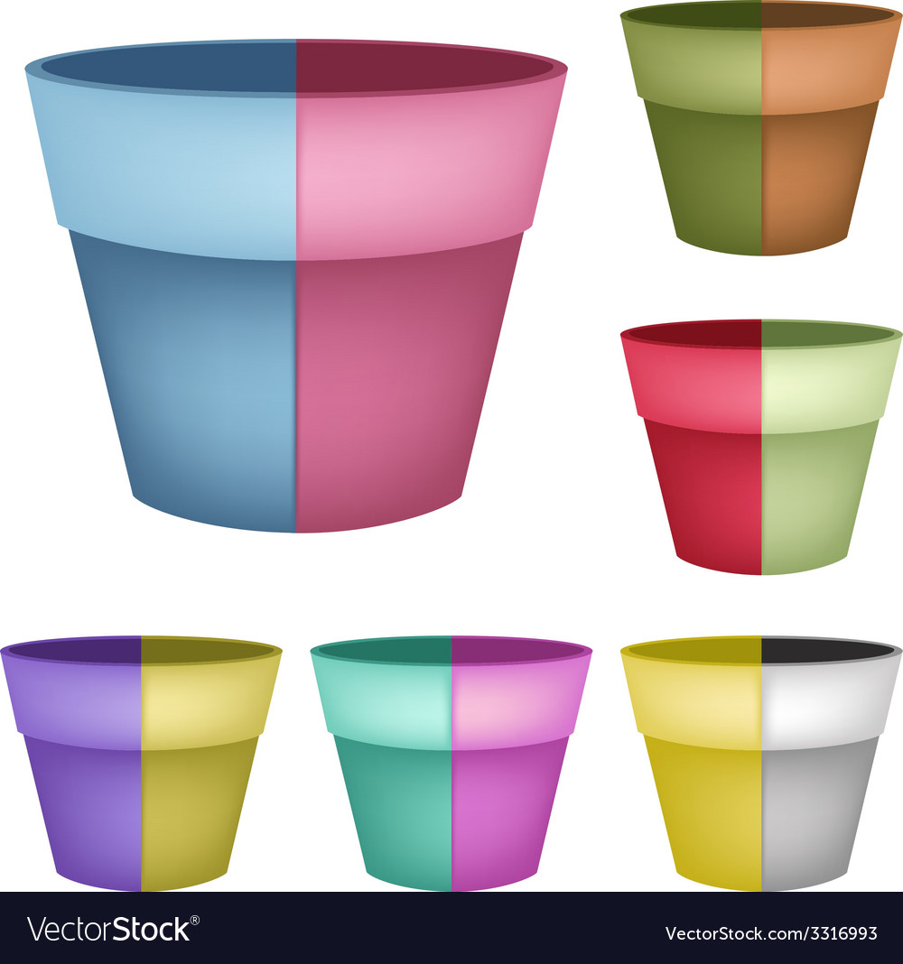Collection of ceramic flower pots on white backgro vector | Price: 1 Credit (USD $1)