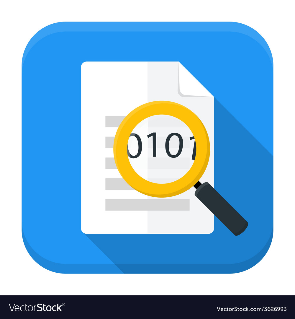 Document magnifying app icon with long shadow vector | Price: 1 Credit (USD $1)