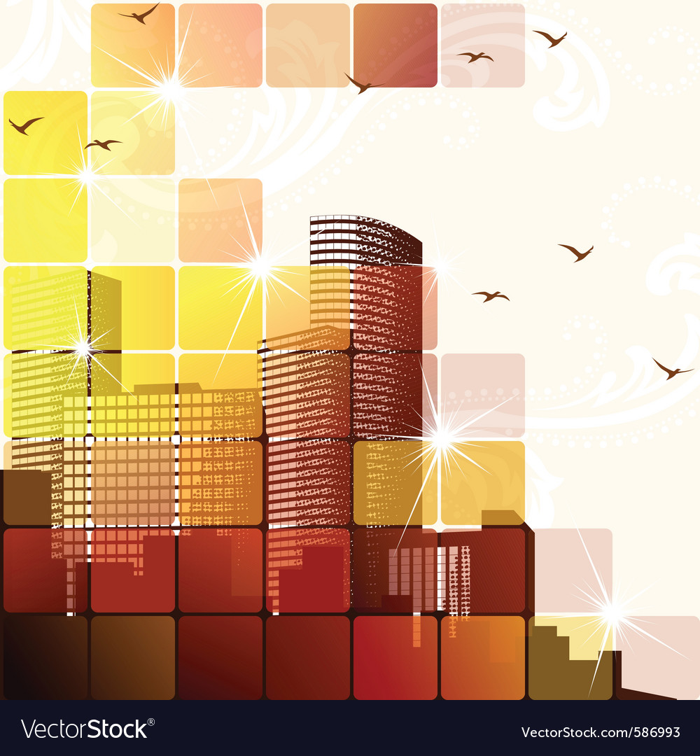 Dynamic cityscape in brown vector | Price: 1 Credit (USD $1)
