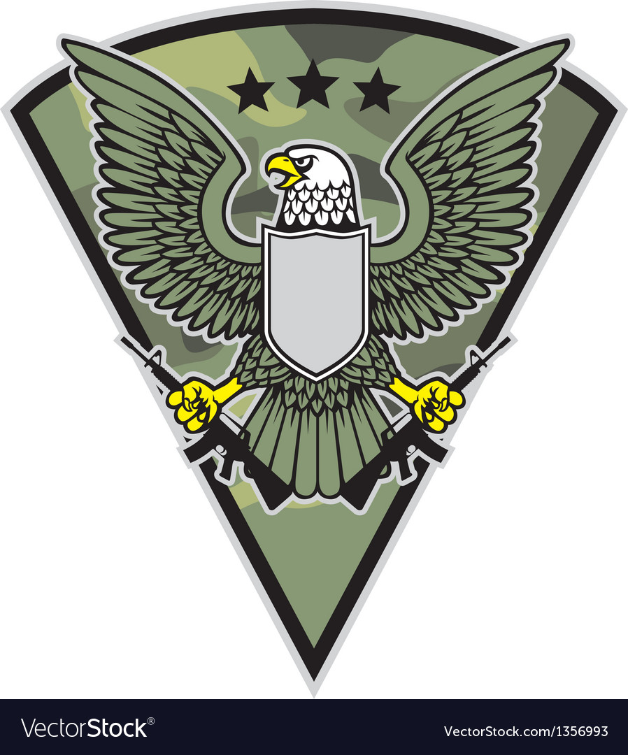 Military bird mascot grab a pair of rifle vector | Price: 1 Credit (USD $1)