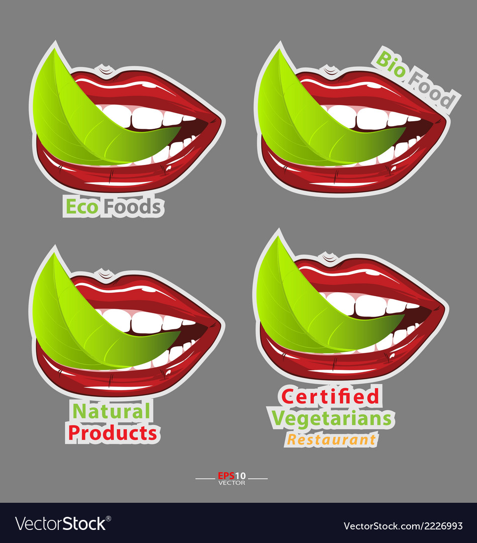 Mouth with leavef vegetarian food vector | Price: 1 Credit (USD $1)