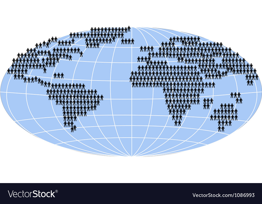 People standing on world map vector | Price: 1 Credit (USD $1)