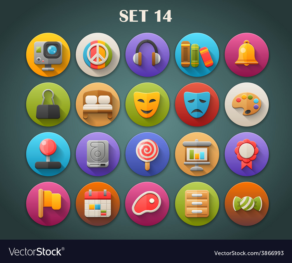 Round bright icons with long shadow set 14 vector