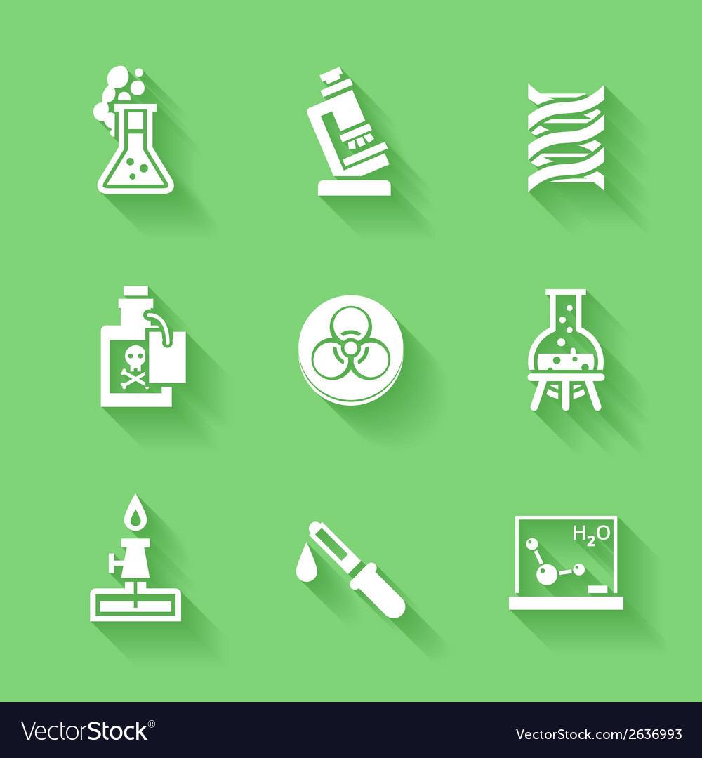 Set of white chemistry icons vector | Price: 1 Credit (USD $1)