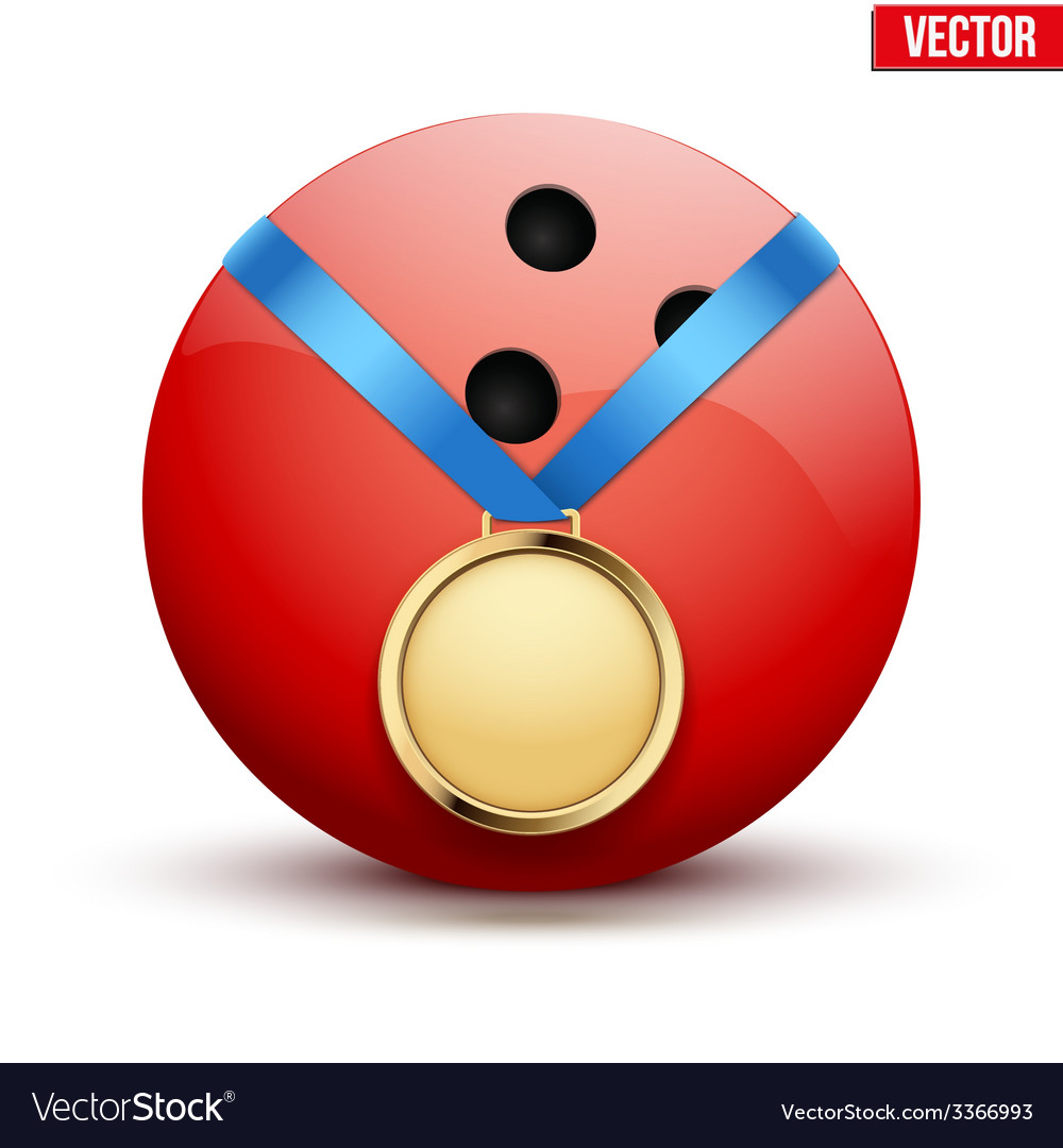 Sport gold medal with ribbon for winning bowling vector | Price: 1 Credit (USD $1)