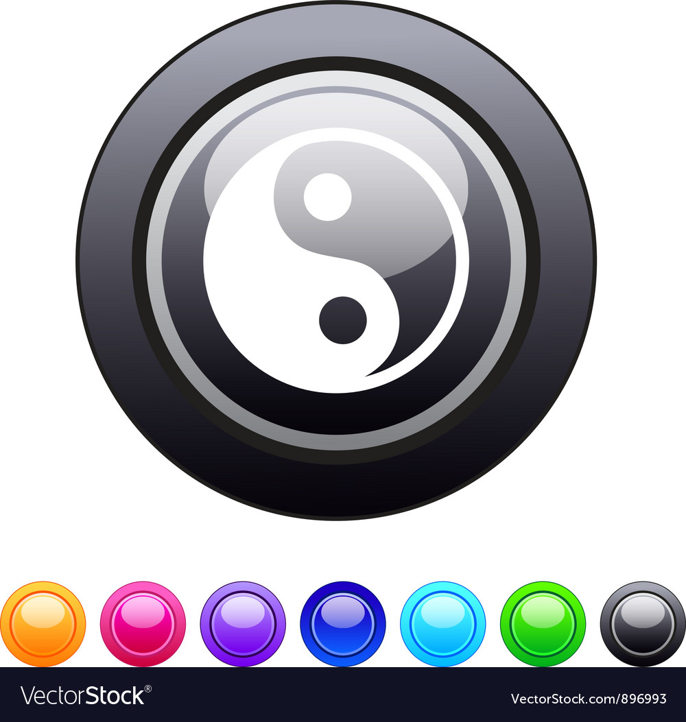 Ying yang circle button vector | Price: 1 Credit (USD $1)